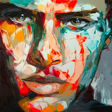100%hand painted Large Size Francoise Nielly Knife man Face Oil Paintings On Canvas Figure canvas painting Wall Art