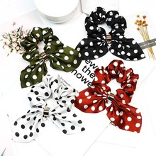 Candygirl Elastic Dot Scrunchie Girls Women Bunny Ear Hair Bows Plaid Ties Accessoires Ponytail Holder Bands