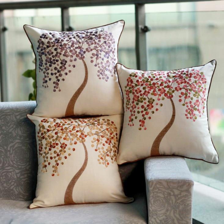CURCYA Albero di alta Qualità Florets Ricamo Cuscino / Decorativo - Tessili per la casa