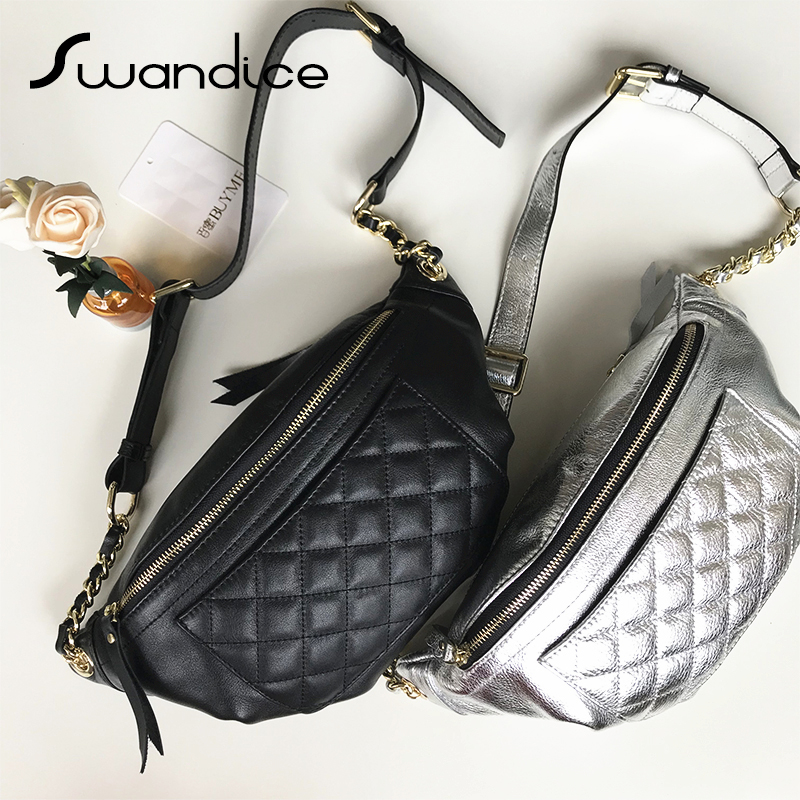 100% Real Genuine Leather Fanny Pack Chest Waist Bum Belt Bags Rhomboid Quilted Crossbody Shoulde Bags Women Female 2019 Handbag-in Waist Packs from Luggage & Bags    1