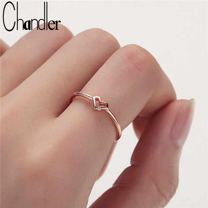 Chandler Silver Hollowed-out Heart Shape Open Ring Cute Love Bague Jewelry For Women Young Girl Child Gifts Adjustable Anel