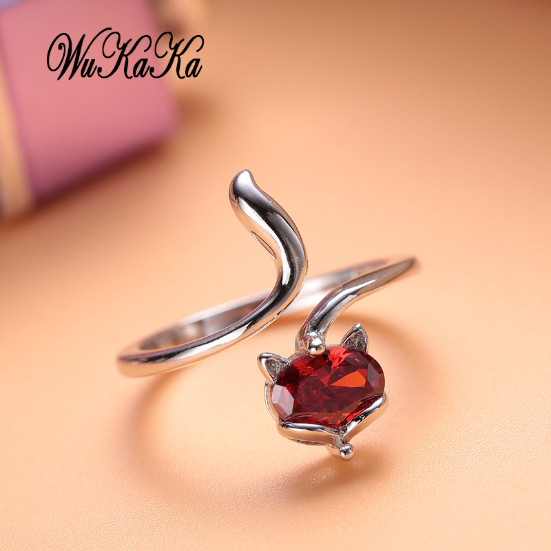 0269b4655 2018 Fashion Rose Gold Fox Ring For Girl Woman Crystal Adjustable Ring  Rhinestone Luxury Brand Jewelry Design for girl gifts