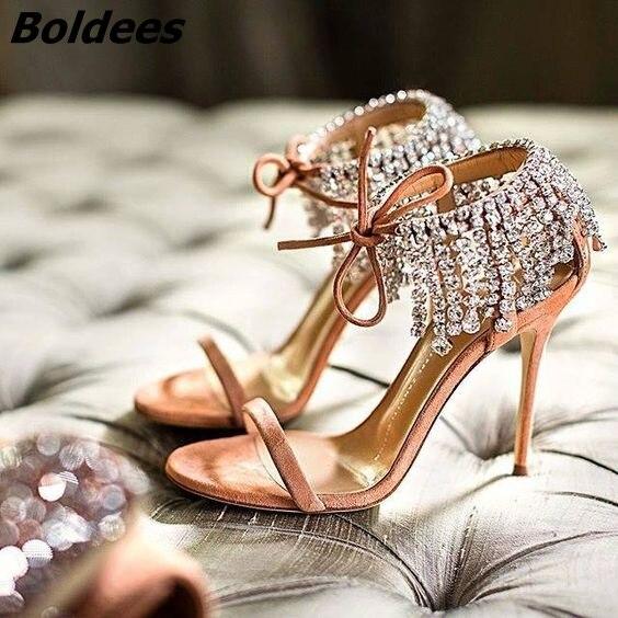 Avanguardia di Cristallo Sandali Tacco Alto Delle Donne di Un Cintura Brillantini Di Cristallo Stringa Avvolgere Caviglia Stiletto Scarpe Lace Up Sandali del Vestito - 3
