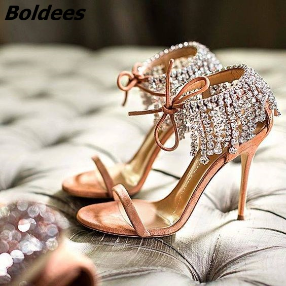 Trendy Crystal High Heel Sandals Women One Belt Glittery String Crystal Ankle Wrap Stiletto Shoes Lace Up Dress Sandals - 3