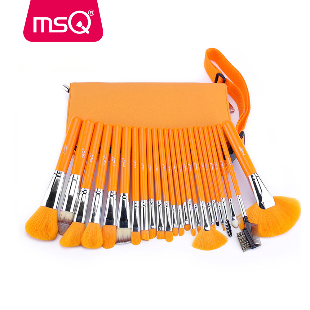 MSQ Pro 24pcs Makeup Brush Set Powder Foundation Eyeshadow Make Up Brush Soft Synthetic Hair Wood Handle With PU Leather Case brand msq high quality synthetic hair foundation makeup brush with painted wood handle for fashion beauty new cosmetic tool
