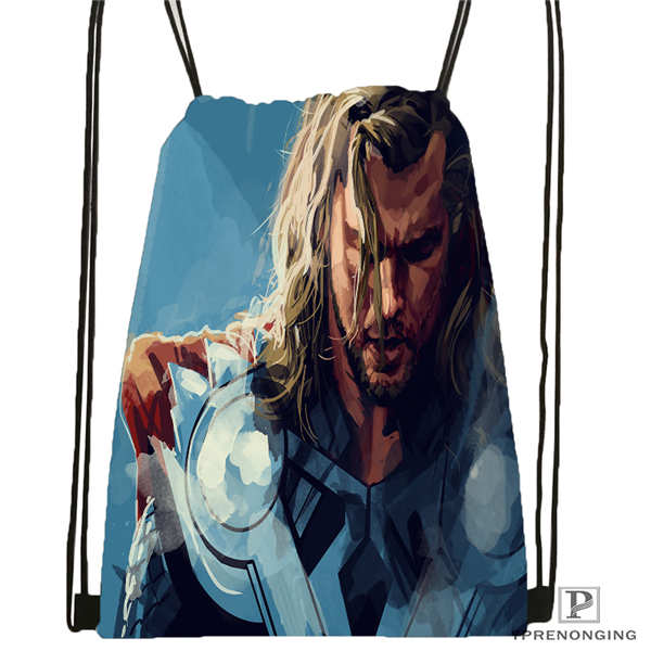 Custom Thor   Drawstring Backpack Bag Cute Daypack Kids Satchel (Black Back) 31x40cm#180612-02-8