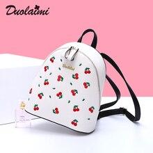 Duolaimi вишня вышивка рюкзак женщины Водонепроницаемый молнии кожаный рюкзак школьный ITA сумки рюкзаки для девочек-подростков Mochila