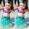 Estilo Playa de verano Para Niños Baby Girls Sirena Sin Mangas de Tul de Trajes de Baño del traje de Baño Tops + Falda Conjunto Bebé Ropa Traje
