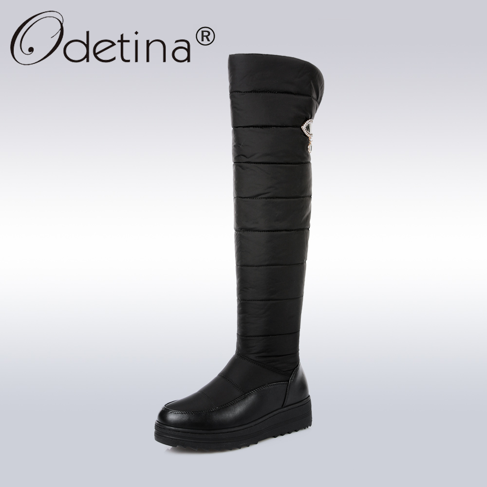 Odetina Classic Winter Snow Boots Women Warm Thick Fur Down Thigh High Boots Ladies Fashion Crystal Platform Over The Knee Boot