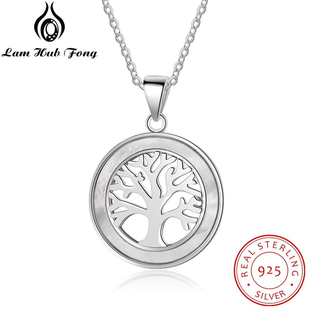 12b94e072791 Árbol de la vida 925 plata esterlina colgante redondo círculo collar madre  de perla Shell collares regalo de joyería fina (Lam hub Fong)
