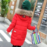 2017 Girls Winter Coat Long Warm Down Jacket For Girl Reima Long Parkas 6 7 9 12 13 14 Children Zipper Outerwear Teenagers Jacke
