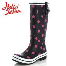 Hellozebra Для женщин дождь Сапоги и ботинки для девочек до колена водонепроницаемая обувь Botas feminina облегающие ботинки на платформе сапоги до бедра осень резиновая Новинка 2017 года