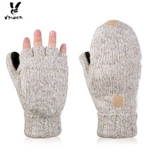 Vbiger Unisex Winter Gloves Warm Wool Flip Top Gloves Flocking Warm Knitted Half-finger Gloves for Men Women
