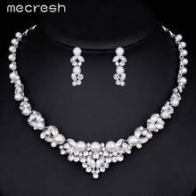 Mecresh Elegant Simulated Pearl Bridal Jewelry Sets Wedding Jewelry Leaf Crystal Silver Color Necklaces Earrings Sets TL280
