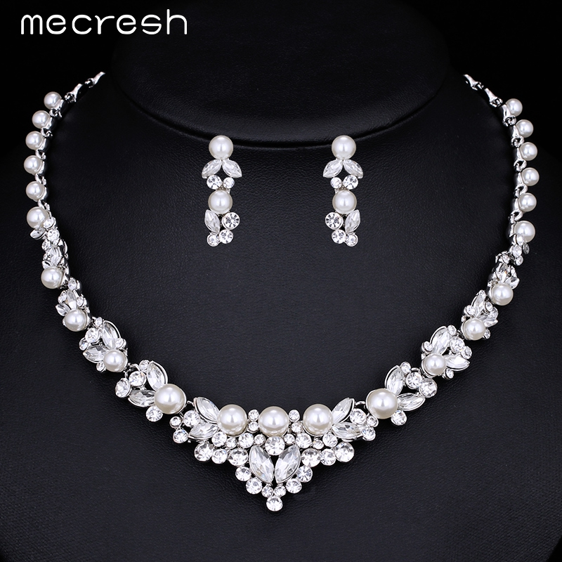Mecresh Elegant Simulated Pearl Wedding Jewelry Sets Leaf Crystal Silver Necklaces Earrings for Women Bridal Accessories TL280