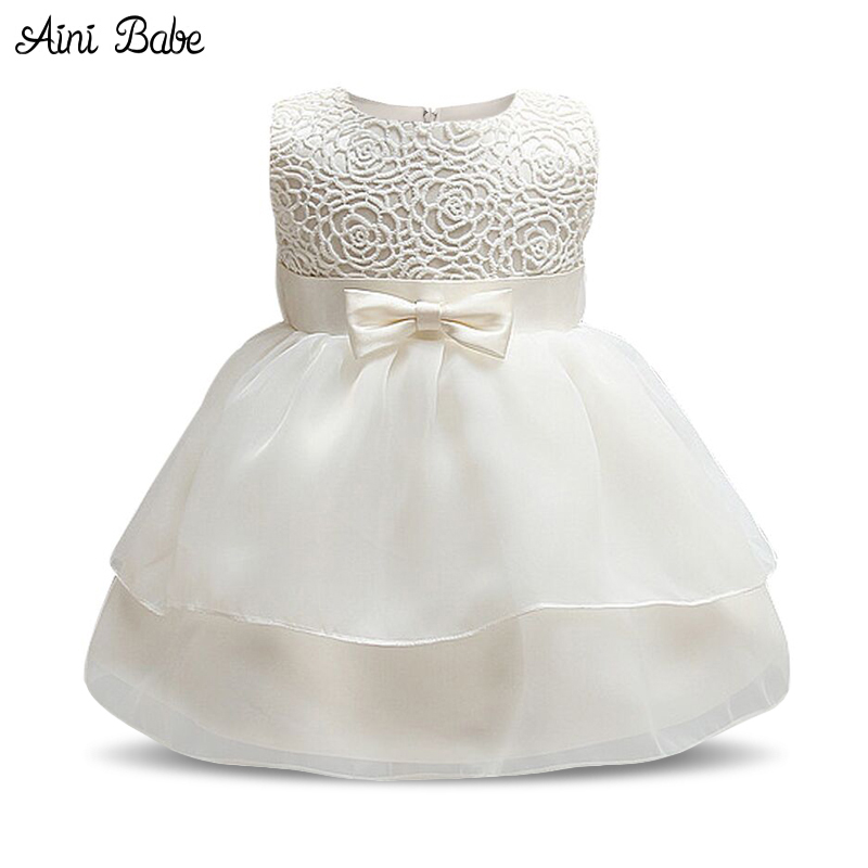 White Baby Baptism Dresses For Toddler Girl Baby Frock Designs Wedding Dress For 1st 2nd Birthday Outfits Baby Girl Party Wear