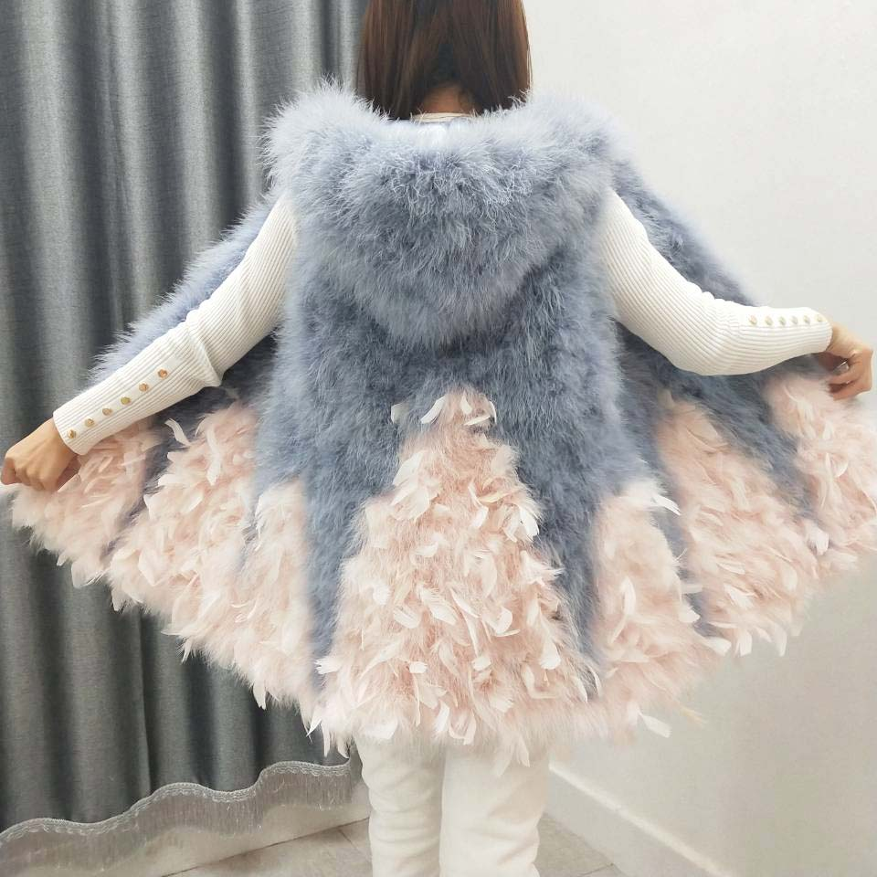2019 spring and autumn new Ostrich wool vest a expansion bottom medium long fur small fresh