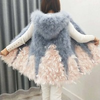 Women spring and autumn ostrich feather vest expansion bottom medium long fur small fresh turkey feather hooded waistcoat female
