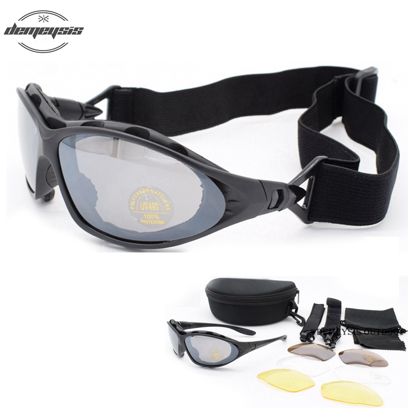 C4 Military Glasses Men Motocycle Tactical Sunglasses Outdoor Gafas Goggles 4 Lenses  Windproof Eyewear Oculos