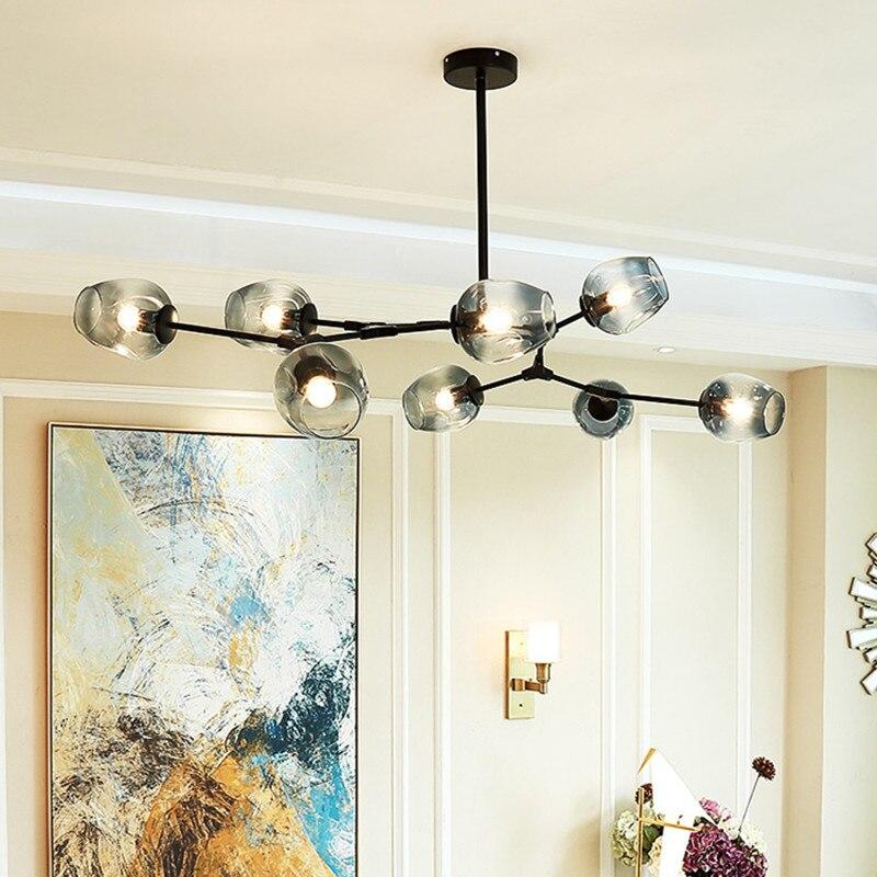 US $144.37 48% OFF|Large Pendant Lights Bar Black Pendant Lighting Kitchen  Modern Pendant Light Gradual Grey Glass Lamp Ceiling Lamp Free Bulbs-in ...