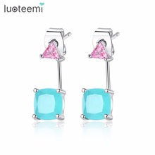 LUOTEEMI New Design Fashion Square Triangle Blue Clear Drop Earrings Copper Cubic Zirconia For Women Girl Party Work Tourism