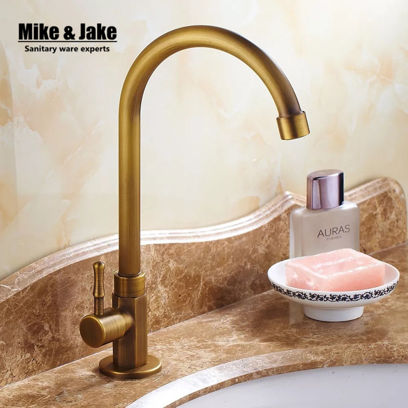 Free shipping single cold tap antique brass deck mounted basin sink faucet cold faucet Single Cold Basin Faucet Bathroom Faucet deck mounted bathroom sink faucet cold