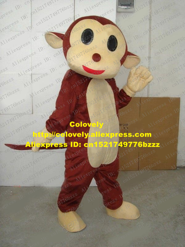 Women Confident Likable Brown Little Baby Monkey Simian Ape Gorilla Orangutan Orangoutang Mascot Costume With Big Black Eyes No.445 Free Ship Suitable For Men And Children
