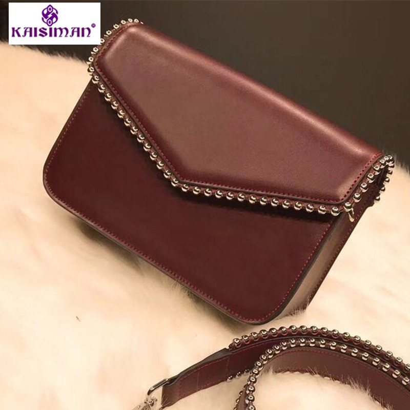Fashion Genuine Leather Women Crossbody Bags Rivet Vintage Shoulder Bags Designer Famous Brand Handbag Ladies Messenger Bags Sac 5 color famous brand designer tassel women handbag genuine leather shoulder crossbody bags messenger ladies purse satchel retro