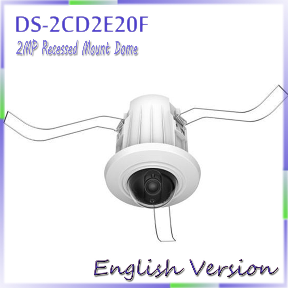 English version DS-2CD2E20F 2.0MP Recessed Mount Dome IP CCTV CAMERA Support DC12V and PoE power supply e mu cd rom