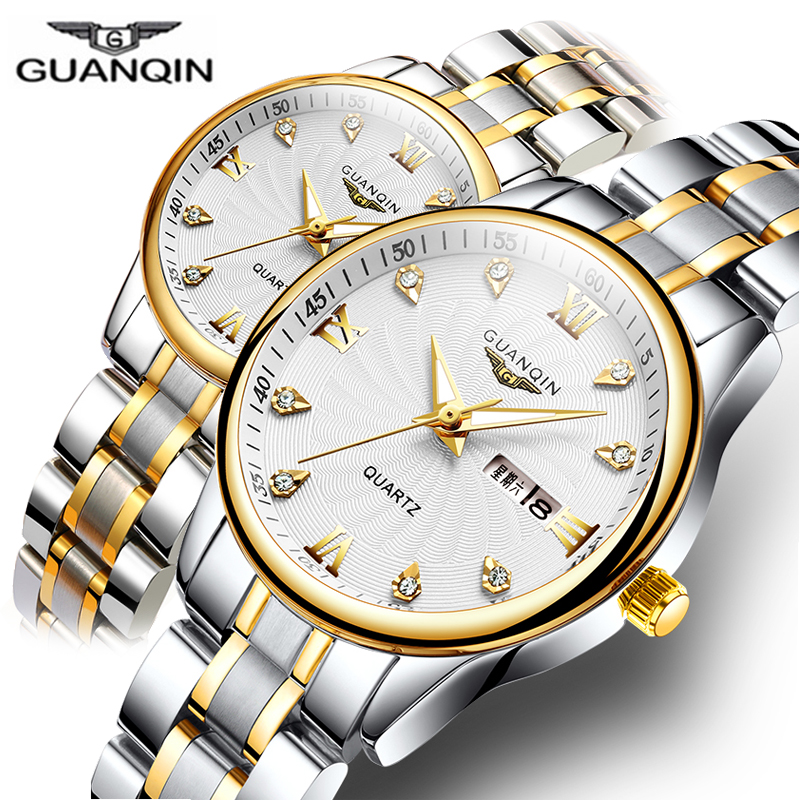 GUANQIN Couple Watch Set Men Women lovers Watch Stainless Steel Date Luxury Gold Quartz Watch Women Clock Ladies Wrist Watch