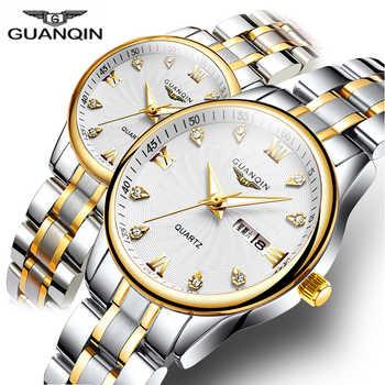 GUANQIN Couple Watch Set Men Women lovers Watch Stainless Steel Date Luxury Gold Quartz Watch Women Clock Ladies Wrist Watch - DISCOUNT ITEM  90% OFF All Category
