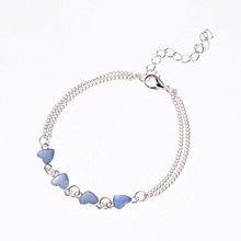 FUNNYBUNNY silver plated heart illuminate glow boho chain anklet beach holiday Luminous bracelet Party favors
