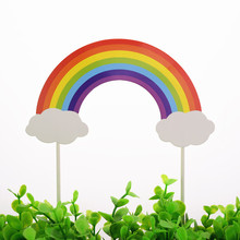 20pc/lot Rainbow Cake Toppers Flags Mr Mrs Kids Happy Birthday Train Cupcake Topper Wedding Bride Baby Shower Party Baking DIY