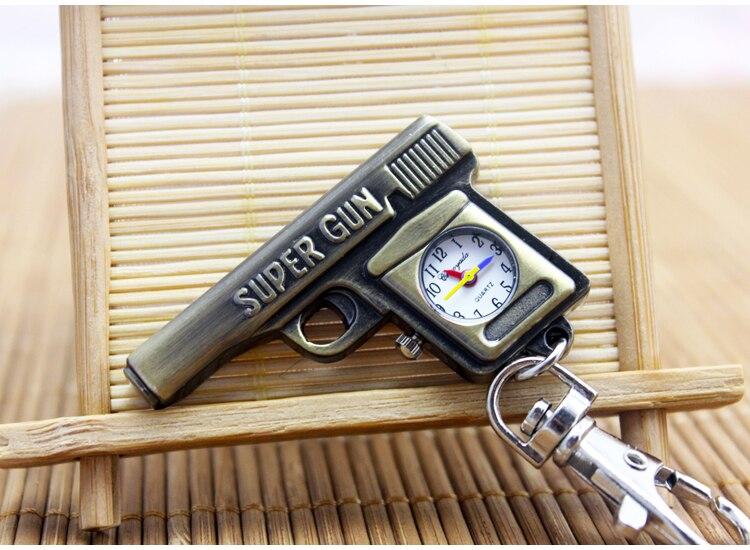 Fashion Cute Gun Shaped Super Gun Motorcycle Quartz Pocket Watch Analog Pendant Keychain Mens Womens Christmas Gifts P307