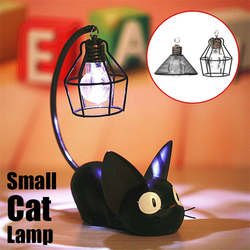 Small Cat Night Light Cartoon Cute Ornaments Children Kid Bedside Reading Table Night LED Lighting Lamp Deocr Gift 10x17.5cm