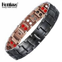 Hottime 99.95% Pure Copper Magnetic Bracelet & Bangle For Men's Energy Healing Double Row 4 IN 1 Black Gun Plated Male Bracelets