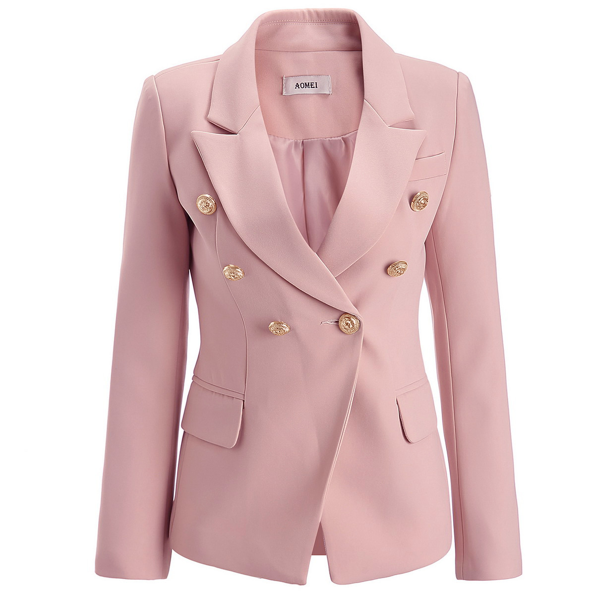 Women's Jacket 2019 Autumn And Winter New Solid Color Self-cultivation Double-breasted Suit Fashion Women's Suit Jacket