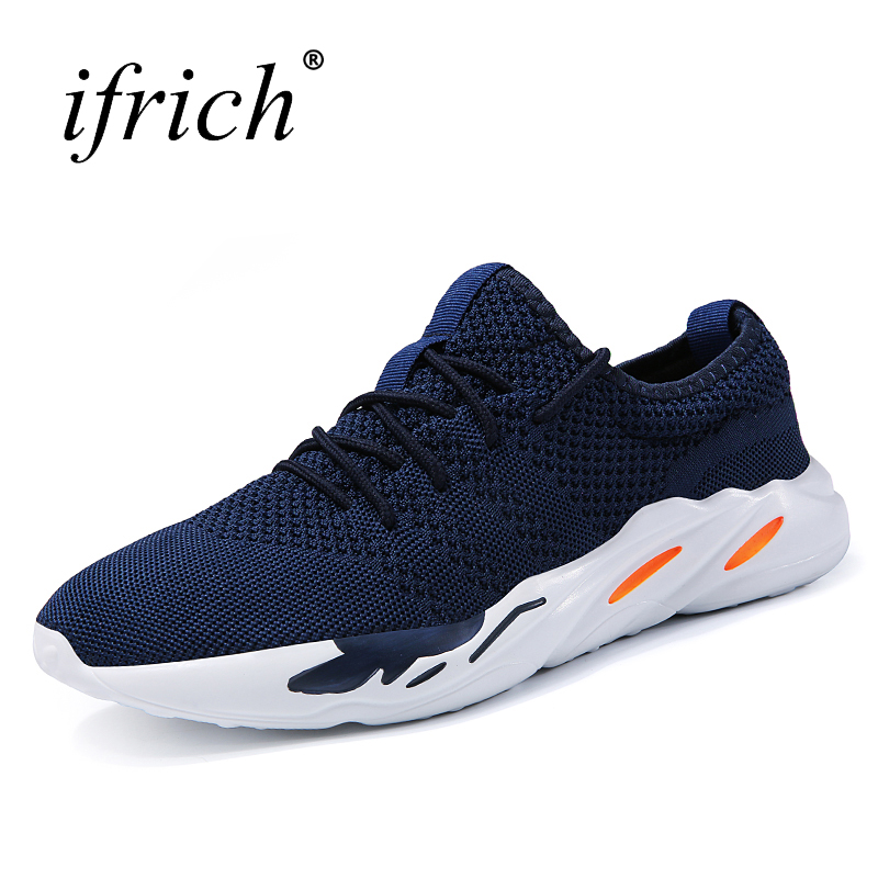 Ifrich Spring Summer Men Running Shoes Black Red Lace Up Male Sport Walking Shoes Comfortable Man Sneakers Cheap Trainers