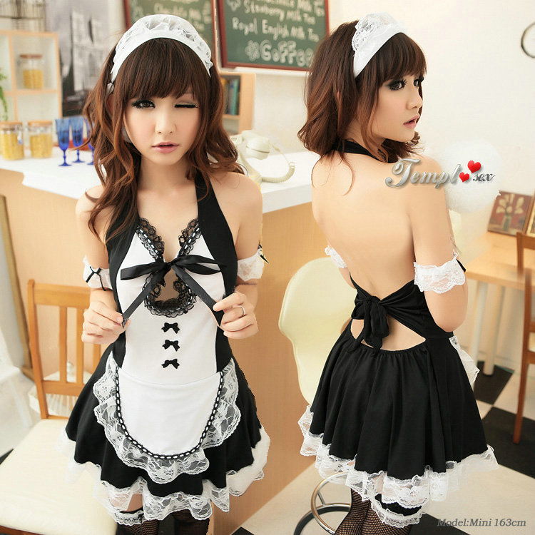 2013 Black Dress Sexy Maid Costume  Sexy Lingerie Fashion -5623