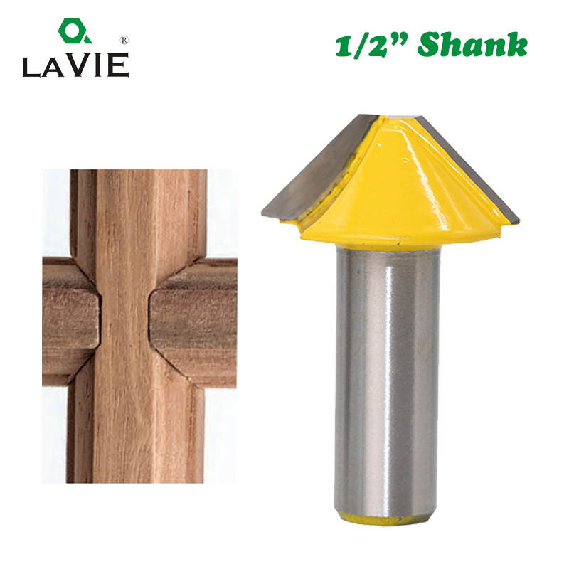 1pc 12mm 1/2 Solid Carbide V Shape Tenon Cutting Bits Knife Flat-bottomed Milling Cutters Router Bit For Wood Door Window 03150