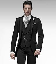 Classic Style One Button Black Groom Tuxedos Groomsmen Men's Wedding Prom Suits Bridegroom (Jacket+Pants+Vest+Tie) K:905