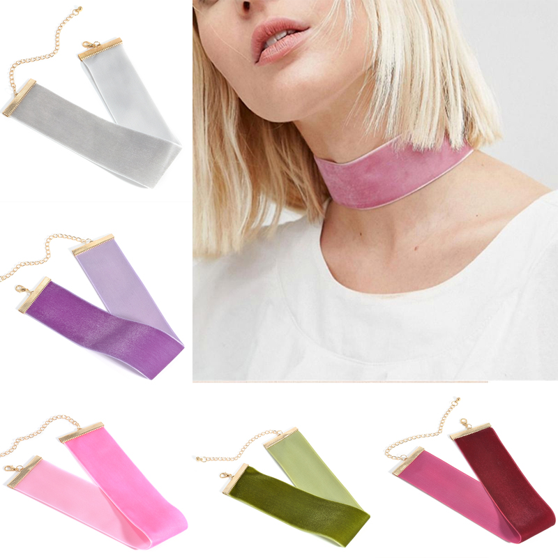 Fashion Charm Women Velvet Ribbon Wide Solid Color Chorker Necklace Punk Handmade Retro Sexy Necklace Jewelry