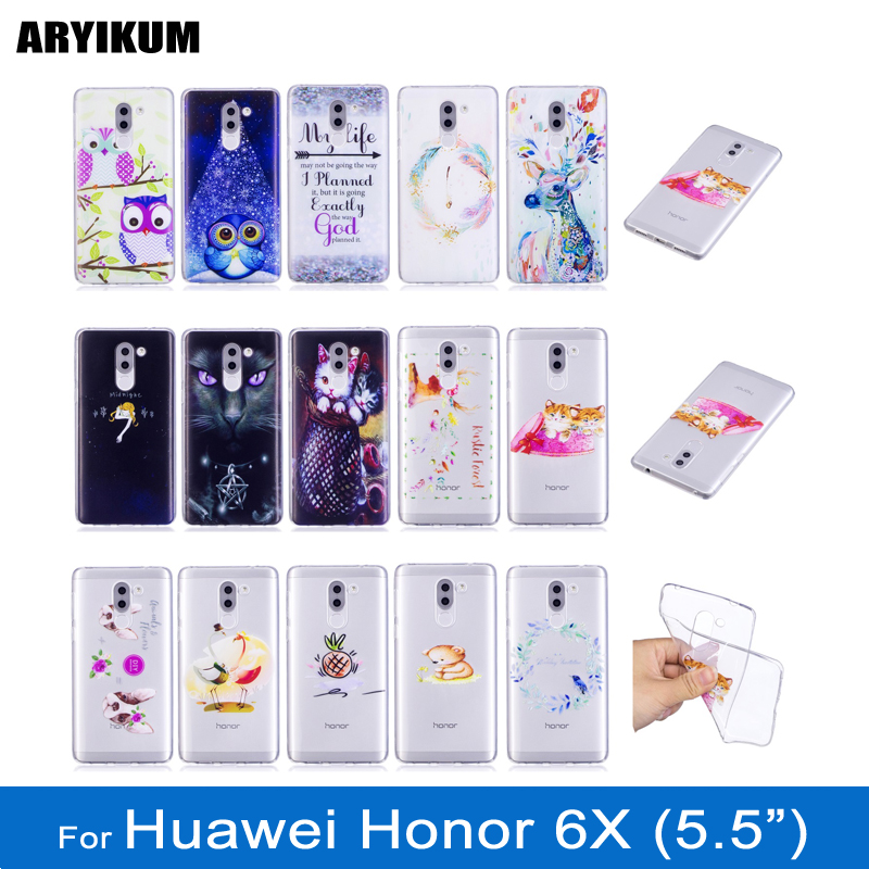 ARYIKUM Mobile Phone Case sFor Huawei Honor 6X Lte Dual Sim 4gb 32gb 64gb Case Android Transparent Back Cover For Hawei Honor 6x