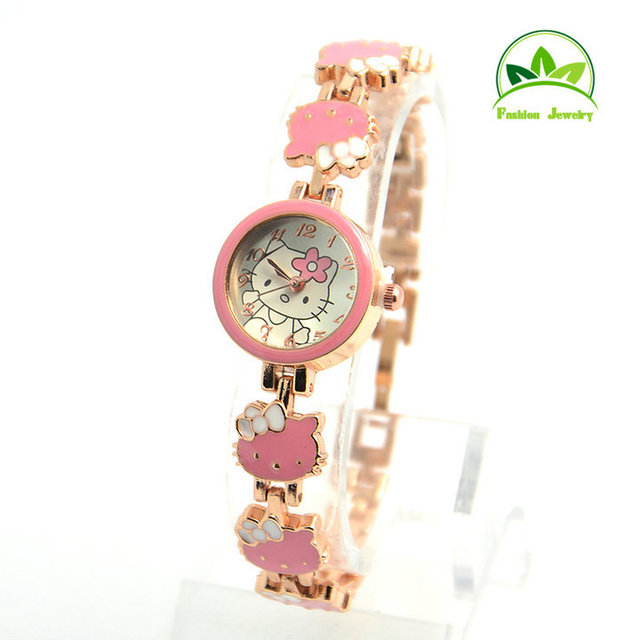 Hot Sales Rose Gold Bracelet Hello Kitty Watch Children Girls Women Dress Quartz