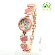 Лидер продаж розовое золото браслет рисунок «Hello Kitty» часы для девочек женское платье Кварцевые наручные часы Relogio Feminino GO085