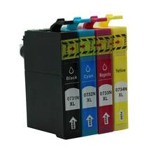 4PK T0731N-T0734N Ink Cartridges For Epson Stylus T13 TX121 C79 C90 C92 C110 CX3900 CX4900 CX5500 CX5600 CX5900 CX6900F Inkjet