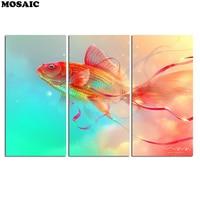 diamond painting Abstract Fish Flow of Life 3 Piece Canvas Wall Art diamond mosaic Embroidery Multi Home/Office Decor Handmade