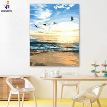 paint by number art painting by numbers Seascape Leisurely and carefree Living room bedroom decorative paintings Handmade gift(China)