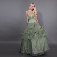 Simple Embroider Kiwi Green Quinceanera Dresses Pleats Top Ruched Skirt Puffy Ball Gowns Sweet 15 Mmasquerade Ball Dresses