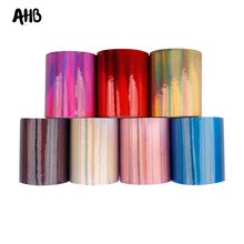 AHB 75mm Cool Mirror Ribbon Solid Color Laser Leather PU Fabric for Decorative DIY Hair Bow Wholesale 2Yards/bag